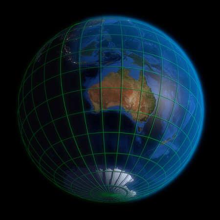 Earth Globe Australia-  Latitude and Longitude. 3d Render using NASA texture maps. photo