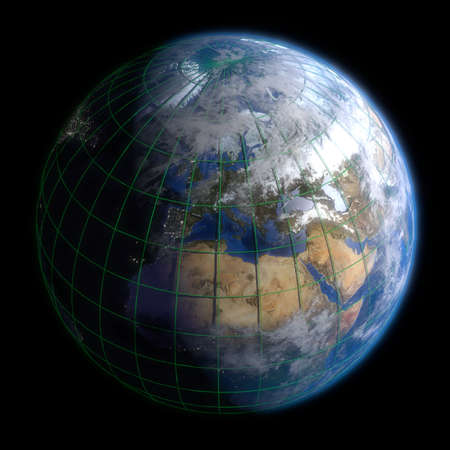 Earth Globe Europe - Clouds and Lines. 3d Render photo