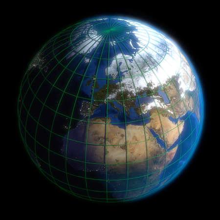 latitude: Earth Globe Europe-  Latitude and Longitude. 3d Render