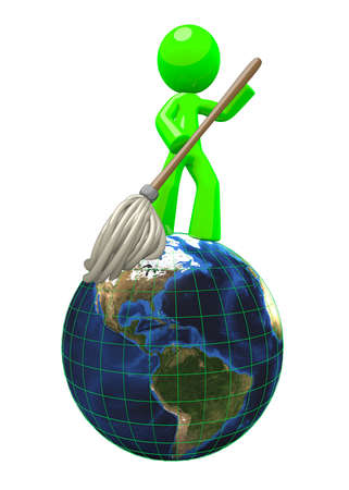 cleaning services: 3d concept of a green man mopping the globe, an idea of green earth conservation, cleaning, sanitization, and natural redevelopment. This is a star concept which can stand for anything from janitorial to efforts in green earth environmental  natural scie Stock Photo
