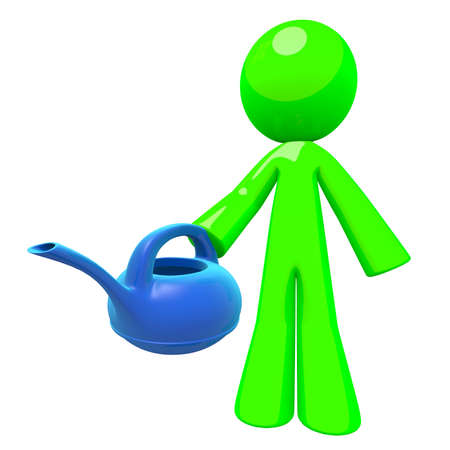 natural sciences: Green man holding a blue plastic watering can, a nice modern concept in greener earth, conservation and natural sciences. Gardening and maintenance related professional concept. Stock Photo