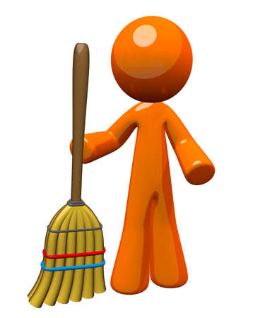custodian: Orange Man holding a broom sweeping up, ready to clean or finished cleaning. Janitorial and groundskeeping image - also a symbol of work and chores expected of everyone.