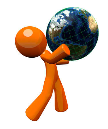 lifting globe: 3d orange man carrying a globe, a concept in responsability toward the earth.
