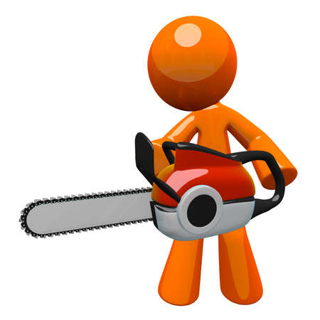 3d Orange man holding chainsaw, ready to cut. Chain saw was fun to model - fairly accurate but simple and stylized enough for the orange man. Stock Photo