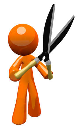 hedge clippers: 3d Orange Man holding hedge trimmers or hedge clippers, ready to work.