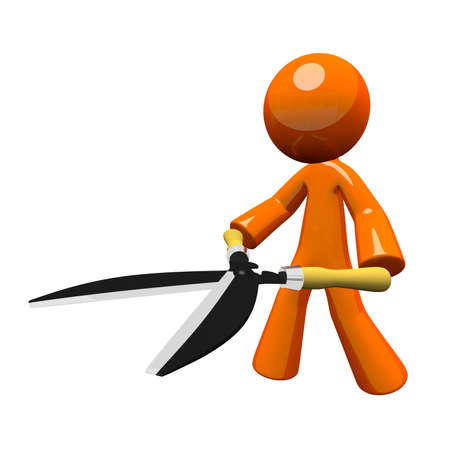 trimmers: 3d orange man holding hedge trimmers or hedge clippers, concept, oversized tool.