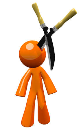 hedge clippers: 3d orange man injury law concept. Giant hedge clippers are stuck in his head. Should have been wearing a hard hat... Who gets to pay for the injury? Its a point of law! Well, its an image of law. Use it. have fun. Law is boring, but the design doesnt nee
