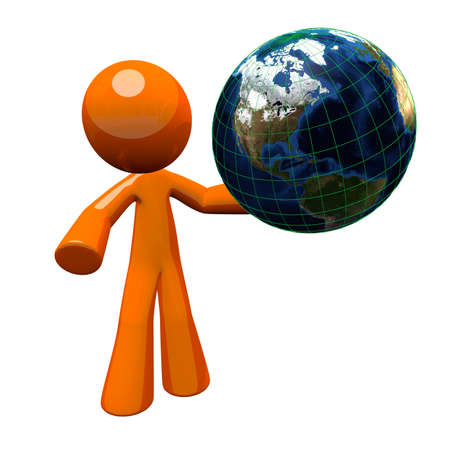 zoomed in: 3d orange man holding a globe, or the earth. Earth is detailed when you look up close. This illustration is as good zoomed in as it is zoomed out.