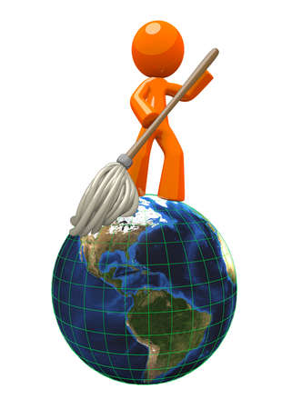 3d Orange Man mopping the globe, cleaning the earth. This illustration is great for representing professions of earth science, janitorial, grounds keeping, and high end cleaning services.
