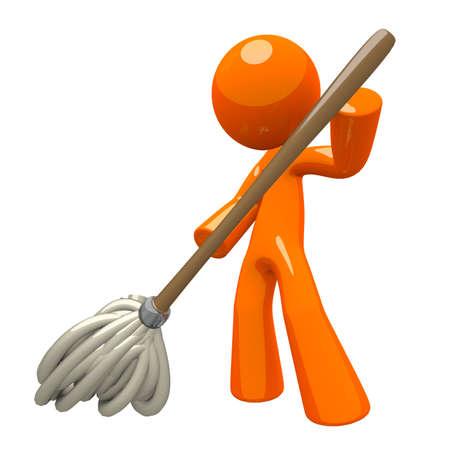 pulizia pavimenti: Orange Man con Mop 3d, lavando il pavimento, illustrazione dei servizi di pulizia.