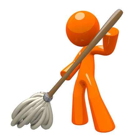 cleaning services: Orange Man with 3d Mop, mopping the floor, cleaning services illustration.