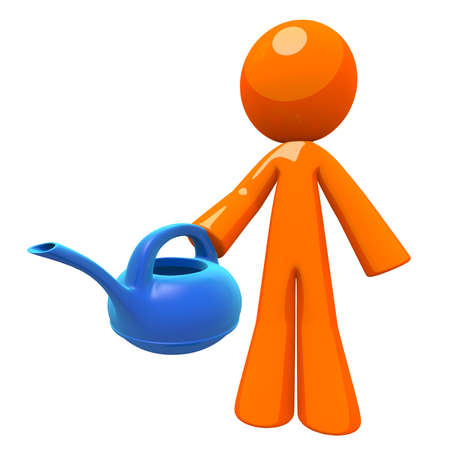 Gardener and gardenging concept, 3d orange man holding a watering can. Can also be used for any environmental and watering concept, such as utilities and resource management. photo
