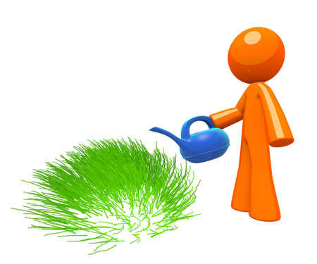 irrigation: 3d Orange Man watering grass, simple minimalistic concept in gardening and maintenance.