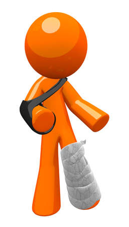 injured person: Orange man with a cast and sling, limping about  Injury, safety, and insurance illustration  Stock Photo