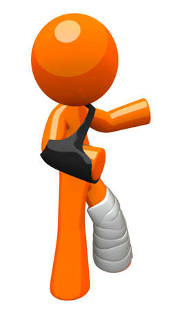 injured person: Orange man with a cast and sling, waving, recoving from an injury