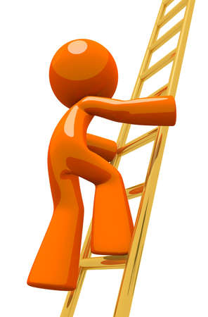 Dramatic pose of an orange man climbing the corporate ladder  The ladder is made out of gold to represent golden opportunities or valuable positions, and the rise to success