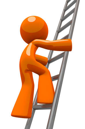 Orange man worker climbing an industrial ladder  Perhaps he is a painter, contractor, worker, or business owner  photo