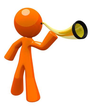 trompeta: Hombre de color naranja con problemas de audici�n o sordas, con una trompetilla para escuchar a la imagen de algo bueno para la representaci�n de discapacidad o simplemente sintonizar y escuchar mejor Foto de archivo