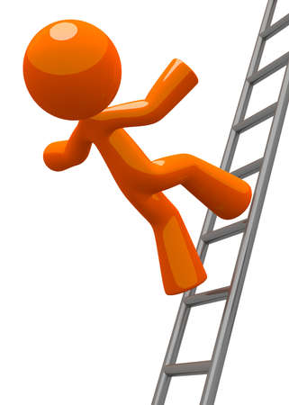 accident at work: A concept in workplace safety, and orange man falling from a ladder  Also can be a general Missed Goals concept  Stock Photo