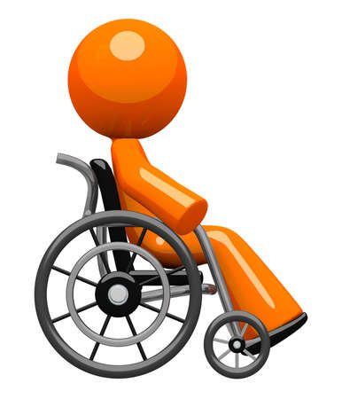crippled: Orange man, sick, impaired, or disabled, in a wheel chair  Viewed from the side, orthographic render   Stock Photo