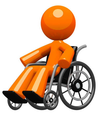 Disability, impairment, or hospital visit concept  An orange man in a wheel chair, moving about independently with confidence and increasing wellness