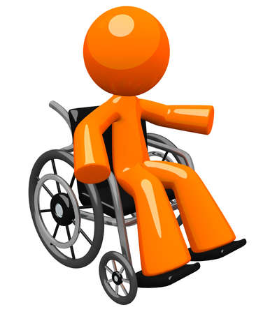 An orange man with his arm out gesturing, in a wheel chair  Perhaps he is disabled or recoving  Great hospital and wellness image to represent care and service to patient  Stock Photo