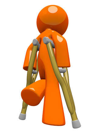 orthopedics: An orange man with crutches, walking away, appearing sad or in pain  Rehabilitation and wellness image