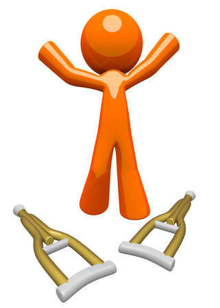 crutches: An orange man healed and recovered from his injury, tossing his crutches down and being triumphant  Healing and wellness concept  Stock Photo