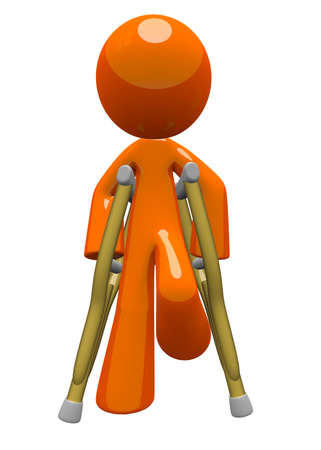 injured person: Orange man with crutches front view  Basic concept in patient care and recovery