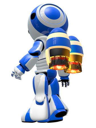 sonic: Robot rocketeer with jetpack, ready to take off and fly to new discoveries.  Stock Photo
