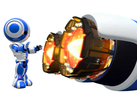 branded product: Robots can do things humans cant. This little guy is warming his hands by jet engine!