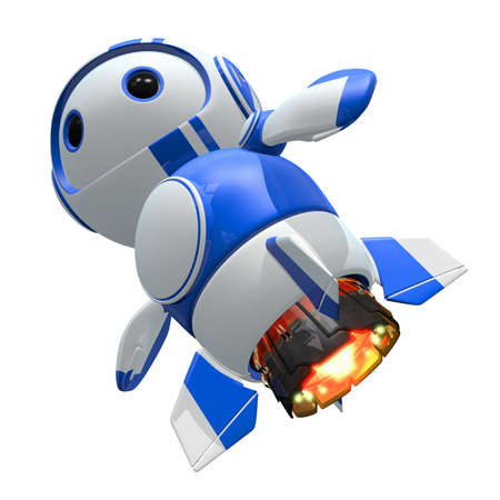 computer mascot: Blueberry bot with jet upgrades. Faster, tougher.  Stock Photo