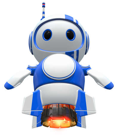 bot: Robot blasting off, with jet engines burning.