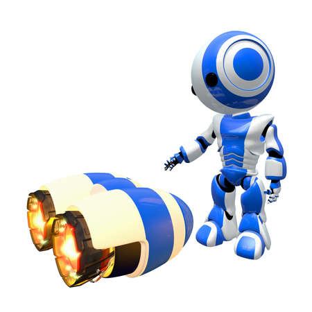 Blue robot inspecting rocket engines for possible use. photo