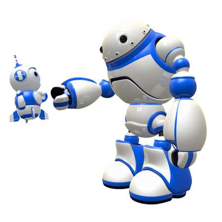 robot: Mały robot i duża robota drżenie rąk i staje przyjaciele. Czy to nie jest słodkie? Zdjęcie Seryjne