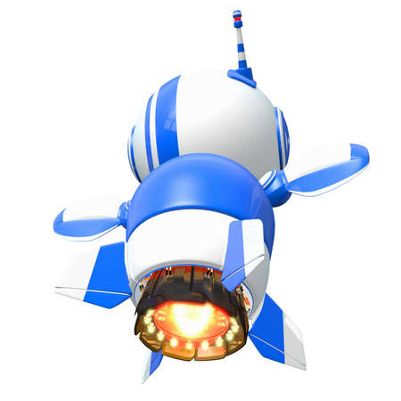 Little blue rocket robot flying away at the speed of imagination. Stock Photo - 14787149