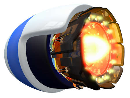 branded product: Fictional jet engine, ignited and burning.