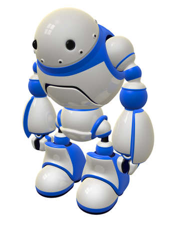 vigilant: Security robot standing ready to defend. But who would want to fight a robot this cute? Stock Photo