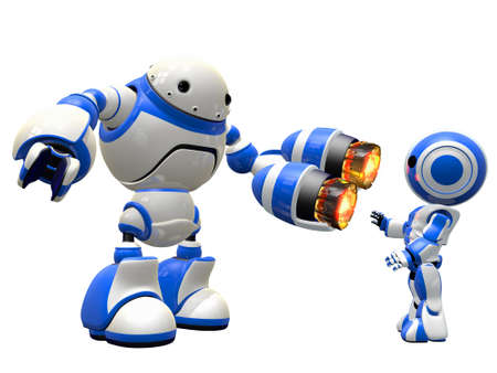 An image depicting internet security, in a fictional sense. Robot pointing plasma gun at invader. Stock Photo - 14787595
