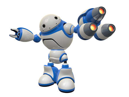 robot with shield: Fictional concept in internet security. A robot three plasma guns at possible spyware or virus. Stock Photo