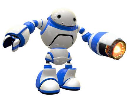 robot: Robot przemysłowy lub jakiś bot walki z opalarki gotowy do akcji.
