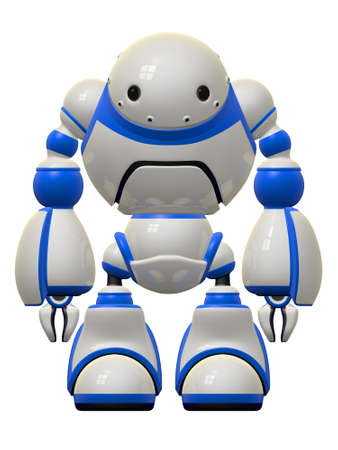 Concept in internet security brought to life - a big behomoth of a robot standing guard over your information. photo