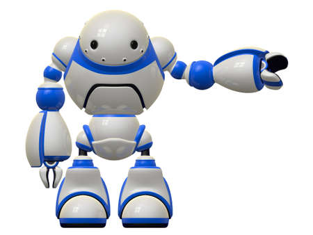 Large robot character who depicts computer software and security, pointing to the side. Stock Photo - 14787576