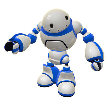 it technology: Software security concept robot standing with an inquisitive pose, perhaps asking a question. Stock Photo