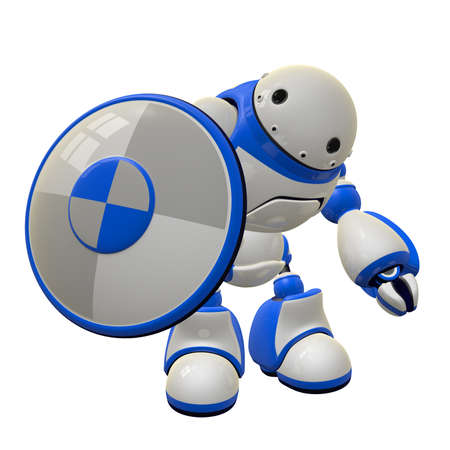 Concept in computer security - a robot with a shield. He is waving hi. Can depict firewall and antivirus threat control. Stock Photo - 14787165