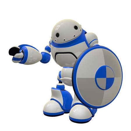 depict: Concept in computer security - a robot with a shield. He is waving hi. Can depict firewall and antivirus threat control.