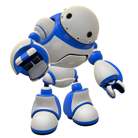 Large robot software security concept. He is pointing at the viewer, or possibly grabbing for an object. Stock Photo - 14787507