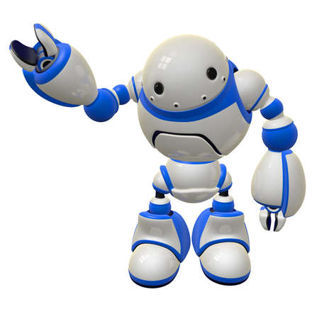Software security concept robot waving and happy. Right arm raised. Stock Photo - 14787335