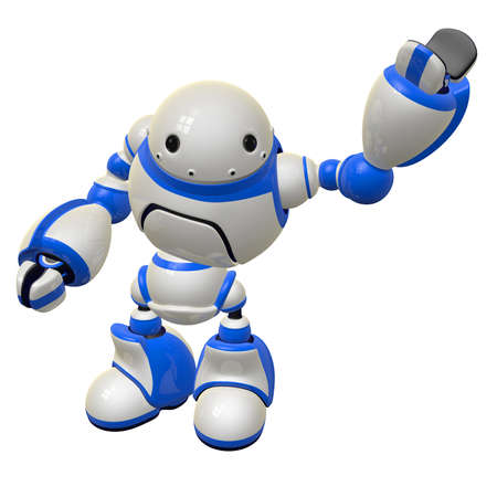 cybernetic: Software security concept robot waving and happy. Left Arm Raised.