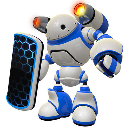 A cool concept of a firewall robot, standing vigilent ready to knock down any threat coming your way. Stock Photo - 14787593